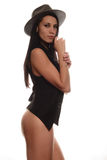 Attractive girl in a hat, black underwear Royalty Free Stock Photo