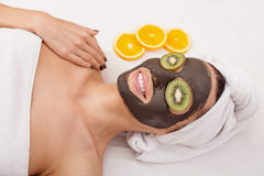 Attractive girl is having skin care treatment Royalty Free Stock Photos