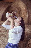 Attractive girl in hay Royalty Free Stock Images