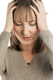 Attractive girl with headache Royalty Free Stock Image