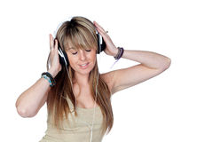 Attractive girl with headphone listening music Royalty Free Stock Photos