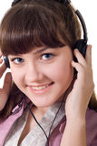 Attractive girl with headphones Royalty Free Stock Image