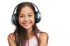 Attractive girl with headphones Stock Images