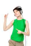 Attractive girl with headphones Royalty Free Stock Photo