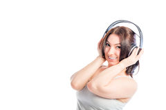 Attractive girl in headphones Royalty Free Stock Photos