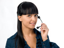 Attractive girl with headset Royalty Free Stock Images