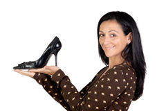 Attractive girl with heel Royalty Free Stock Images