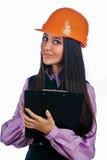 Attractive girl in helmet Stock Photo
