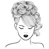 Attractive girl with high gorgeous hair. Attractive dreamy girl with high gorgeous hairdo, hand drown detailed vector illustration isolated on the white royalty free illustration