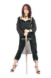 Attractive girl hold sword in her hands Royalty Free Stock Photo