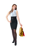 Attractive girl holding bags Royalty Free Stock Photography