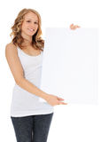 Attractive girl holding blank sign Royalty Free Stock Photography