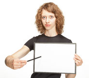 Attractive girl holding clipboard Royalty Free Stock Image