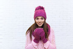 Attractive Girl Holding Coffee Cup Warm Clothes Smile Teenage Royalty Free Stock Photos
