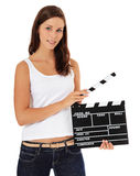 Attractive girl holding slate Stock Image