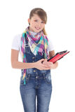 Attractive girl holding tablet pc over white Royalty Free Stock Photos