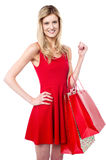 Attractive girl holding vibrant shopping bags Stock Image