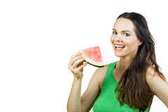 Attractive girl holding watermelon and smiling Stock Photos