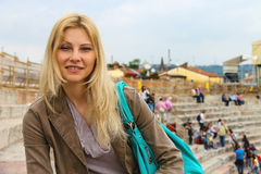 Attractive girl inside the Arena of Verona. Italy Stock Photography