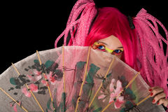 Attractive girl with Japanese umbrella Royalty Free Stock Photos