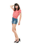 Attractive girl in jeans mini skirt Royalty Free Stock Images