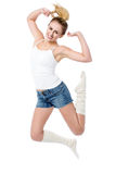 Attractive girl jumping with joy Royalty Free Stock Images