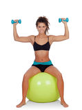 Attractive girl lifting dumbbells sitting on a ball Royalty Free Stock Photo