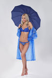 Attractive girl in lingerie with umbrella Stock Image