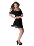 Attractive girl in a little black dress isolated Royalty Free Stock Photos