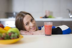 Beautiful girl with smoothie,healthy food royalty free stock photos