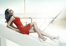 Attractive girl lying and resting Royalty Free Stock Image