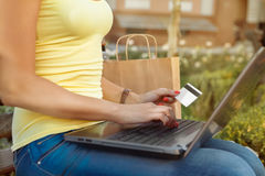 Attractive girl makes a purchase online. Attractive girl enters into the computer data of her credit card Royalty Free Stock Photo