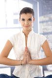 Attractive girl meditating Royalty Free Stock Images