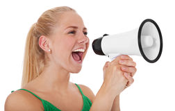 Attractive girl with megaphone Stock Images