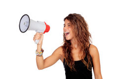 Attractive girl with a megaphone Royalty Free Stock Photo