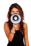 Attractive girl with a megaphone Stock Photography