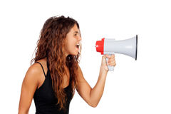 Attractive girl with a megaphone. Isolated on a white background royalty free stock images