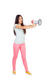 Attractive girl with a megaphone Stock Photos