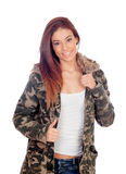 Attractive girl with military style jacket Stock Photo