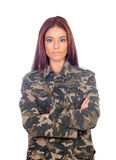 Attractive girl with military style jacket Royalty Free Stock Photos