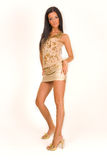 Attractive girl in miniskirt. Studio isolated royalty free stock images