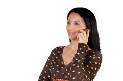Attractive girl with a mobile Royalty Free Stock Photo