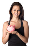Attractive girl with money box Royalty Free Stock Photography
