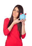 Attractive girl with money box Royalty Free Stock Photos