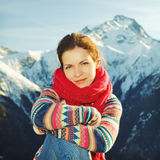 Attractive girl in mountains Stock Photos
