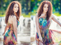 Attractive girl in multicolored short dress playing with water in a summer hottest day. Girl with wet dress enjoying fountains. Young beautiful happy female stock photography