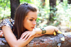 Attractive girl on the nature royalty free stock photos