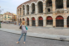 Attractive girl near the Arena of Verona. Italy Royalty Free Stock Images