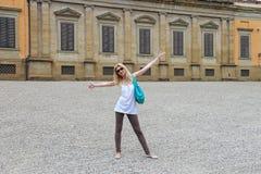 Attractive girl near the Palazzo Pitti in the Boboli gardens, Fl Stock Photography