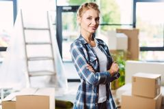 Attractive girl in new house Royalty Free Stock Photos